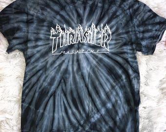 Thrasher Magazine Logo Tie Dye T shirt Skateboarding