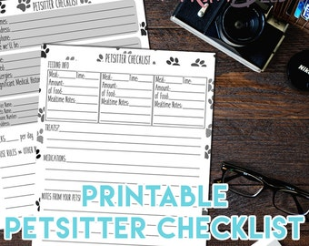 Printable Petsitter Checklist for Pet Care - sheets for one or multiple pets! Instant Download, 8.5x11 PDF, Dogsitter Checklist, Dog Care