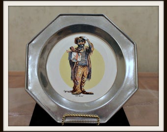 """The Wilton Company Limited Edition """"In The Center Ring"""" Clown Pewter Collectors Plate"""