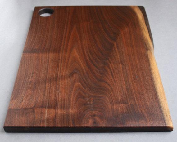 Wood Edged Board ~ Walnut wood cutting board with live edge serving