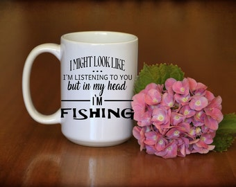 Fishing Mug, great gift for the fisherman .Fathers Day gift, Male birthday gift, Reverse side can be personalised.