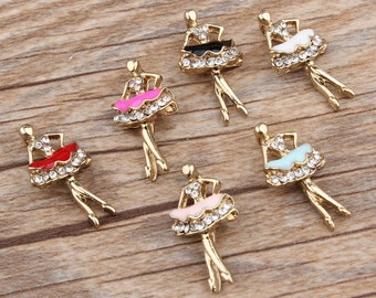 Ballerina Charms, 10PCS, 12*22MM, Enamel Charms, Ballet Dancer Charms,Ballet Charm, Dance Charms, Dancer Charms,Black,White,Pink,Blue,Red