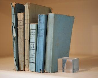 6 Blue/green paper-bound antique books