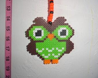 Adorable Little Green and Orange Owl Rave Kandi Necklace