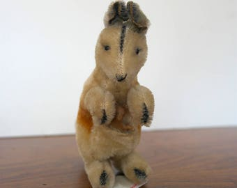 Steiff Kangaroo with Button in Ear & Baby Kangaroo