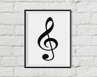 Treble Clef Music Note  Printable Wall Art   INSTANT DOWNLOAD Black and White