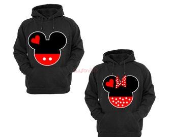 Mickey Head Hoodie Minnie Head Hoodie Mickey Minnie Extended Hand Mickey Minnie Sweatshirt Couple Matching Hoodies Mickey Hands Black