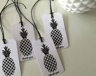 "Set of 6 ""Thank you"" Gift Tags (pineapple)"