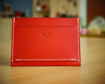 BANDA leather studio, Red simple Cardwallet, leather card wallet, leather mini wallet, leather goods