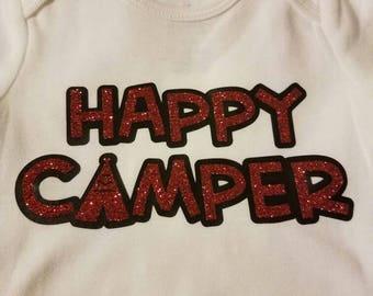 Happy Camper Summer Tent Glitter Onesie