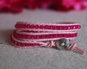 Pink Leather Wrap Bracelet