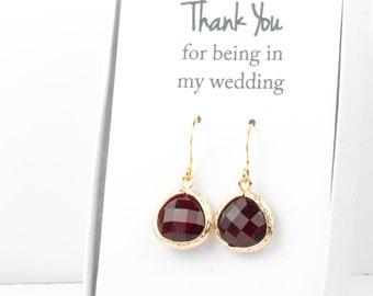 Garnet Gold Earrings, Gold Red Earrings, Garnet Wedding Jewelry, Bridesmaid Gift, Bridesmaid Earrings, Red Bridal Accessories