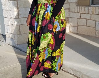 Multicolored African Gathered Maxi Skirt;Vlisco Pleated Maxi Skirt Ankara Maxi Skirt; Vlisco Fabric, Ankara Print; Ready To Ship