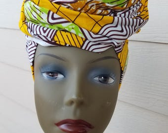 Yellow Headwrap; Yellow African Headwrap; African Clothing; African Fabric Headwrap; African Scarf; Fabric Headwrap: Headwrap; Head tie