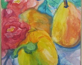 "Small still life painting, original watercolour gouache, ""Pepper, Pear, Roses"""