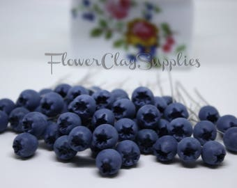 Blueberry 10 pcs, Clay Blueberry, Juicy Blueberries Fruit, Berries, Clay Berries, 100 % handmade of polymer clay, Jewelry Supplies.Fimo bead