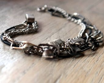 Multi Strand Sterling Silver Black Leather Bracelet , 925 sterling silver oxidized silver, Everyday bracelet, silver handmade chain,