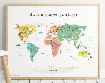 Printable Map Poster, 16x24 in, 20x16 in, 24x36 in, World Map for Kids, Nursery Print