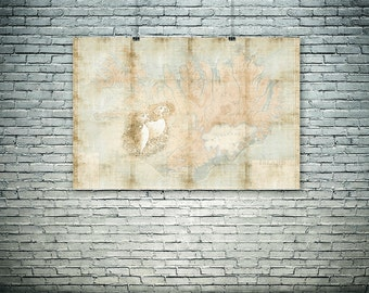 Iceland wall art, Iceland map, Iceland puffin, large format poster, art print, wall decor, gift.