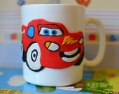 Mug with Lightning McQueen | Mug decorated with polymer clay | custom mug | handmade baby gift | personalized gift | unique gift | funny mug