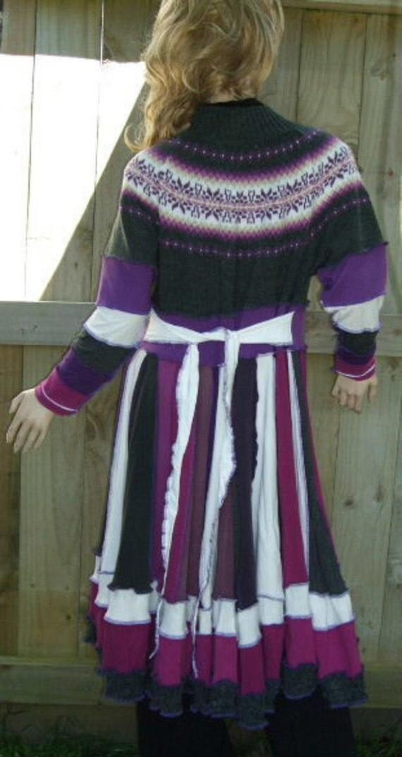 Purple Cream Grey Remade Coat Dress