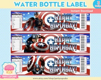 80% OFF SALE Water Bottle Label Captain America - 3 Designs - Instant Download - PDF Files - High Resolution - Holiday Party
