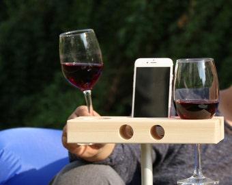 handmade outdoor wooden Wine Glass Holder phone Dock / Speaker