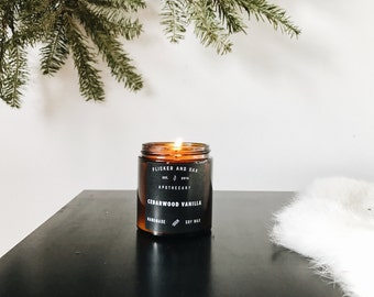 Cedarwood Vanilla Soy Candle | 4 oz Amber Jar | Handmade with Natural Soy Wax