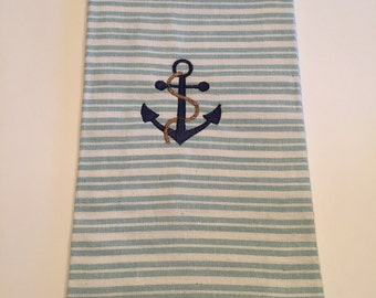 Embroidered Anchor Kitchen Towel