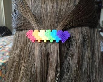 Rainbow Hearts Hair Clip (Purple)