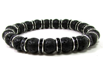 Lava Stone Bracelet, Men Bracelet, Mens Gift, Mens Bracelet, Men Gemstone Bracelet,Bracelet for Men, Gift for Him, Beaded Bracelet