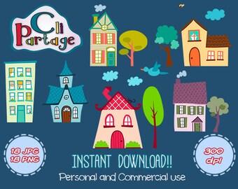 House Cliparts, Instant Download, Clip Art Vectors, Clip Art