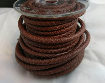 Red Brown Braided Leather Cord 6mm Thickness Great For Next Project Bracelet Necklace Etc