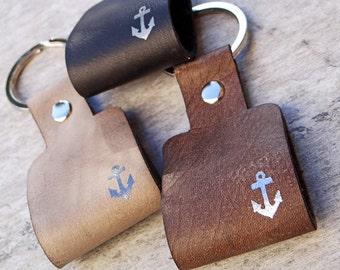 Keychain leather anchor with compose Schlüsselundwort