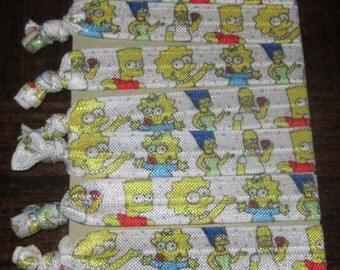 "5/8"" Simpsons FOE Hair Ties, Set of 8 Hair Ties For Gifts, Party Favors, Goodie Bags, Yoga, Workouts, Yoga Hair Ties, Everyday Wear"