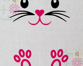 Easter Bunny Face Digital Download * Cricut Silhouette Download * DXF SVG Png Bunny File * Bunny SVG Download * Rabbit Face and Feet Vinyl