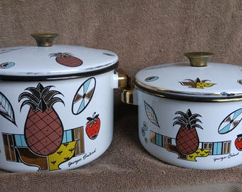 Set of 2 GEORGES BRIARD Enamel Pineapple Pots Mid Century cookware