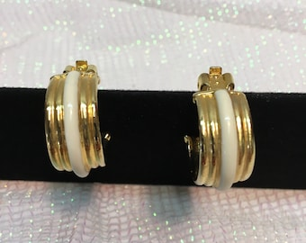 Elegant, Classic , White And Gold, Trim Look, Clip Earrings .
