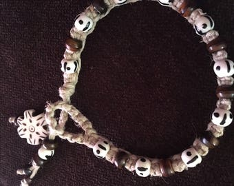 Hemp macrame bone and horn bracelet