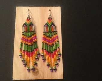 Seed bead earrings with sterling silver hooks