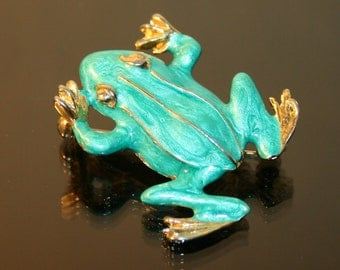 Vintage Frog Brooch with a gold toned, soft green lacquer/enamel finish