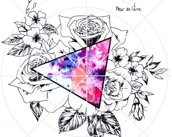 watercolour Flower triangle