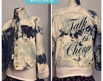 Hand made distressed bleached Jean jacket