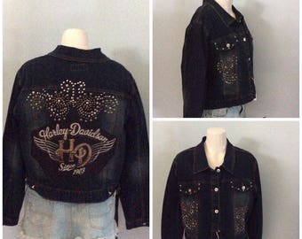 One-of-a-kind Recycled Harley Davidson studded jean jacket  SIZE s 1 xl