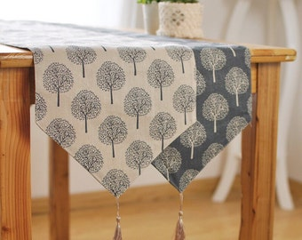 Mulberry Trees Linen Table Runners,Simple Linen Table Runners, Soft Linen  Fabric