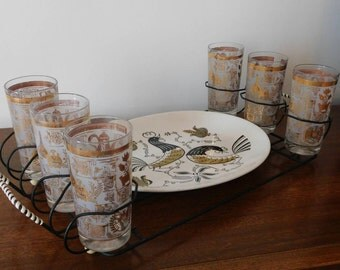 Vintage  Tumblers with Carrier & Rooster Serving Platter