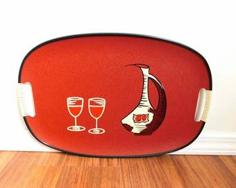 Vintage 1960s serving tray WINE Bottle with glasses retro art style