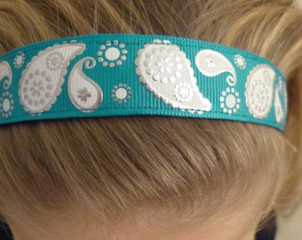 Non-slip Adjustable Headband Paisley with teal gold and white