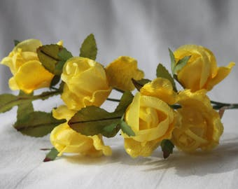 Vintage 80s-90s velvet yellow roses,Little Fabric flowers,yellow floral garnish,vintage millinery flowers,flowers for art craft,yellow roses