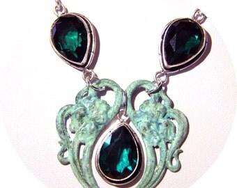 Necklace Art Nouveau spirit Mucha print green patina and cut emerald green glass